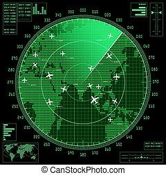 mapa, ekran, radar, zielony, samoloty, świat