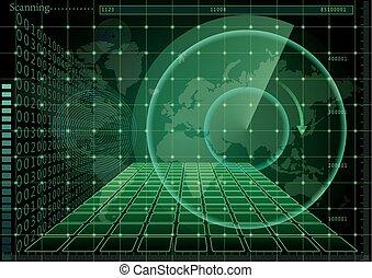 mapa, ekran, zielony, świat, radar