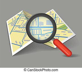 mapa, fałdowy, szkło powiększające