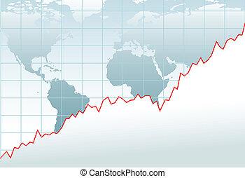 mapa, finansowy, globalny, wykres, wzrost, ekonomia
