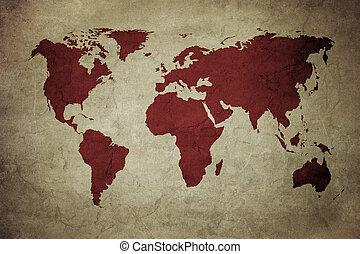 mapa, grunge, świat