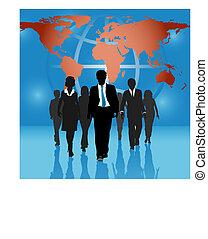 mapa, handlowy zaludniają, globalny, tło, drużyna, świat