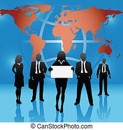 mapa, handlowy zaludniają, globalny, znak, drużyna, świat, utrzymywać