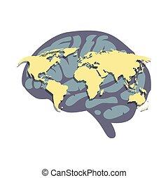 mapa, ilustracja, mózg, wektor, ludzki, świat