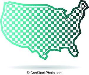 mapa, klatkowy, ilustracja, stany, zjednoczony, logo