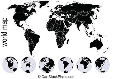 mapa, komplet, czarnoskóry, ziemia, kule, świat
