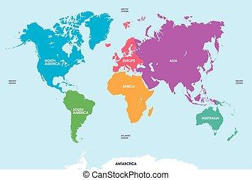 mapa, kontynenty, świat
