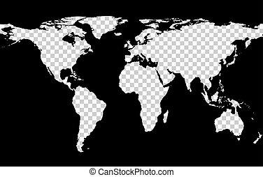 mapa, kontynenty, przeźroczysty, imitacja