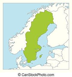 mapa, kraje, highlighted, szwecja, zielony, sąsiad