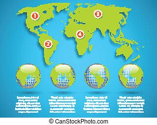 mapa, kula, infographic, szablon, świat