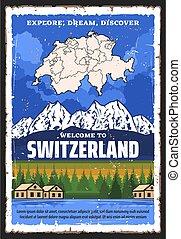 mapa, moutains, podróż, szwajcaria, alpejski, szwajcarski