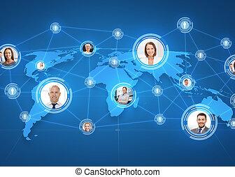 mapa, na, businesspeople, świat, obrazy