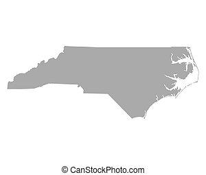 mapa, na północ carolina