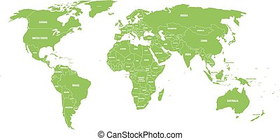 mapa, nazwa, świat, kraj, polityczny, labels., ręka, stan, wektor, zielony, ilustracja, pociągnięty, uproszczony, brzegi, biały