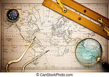 mapa, objects., stary, nawigacyjny