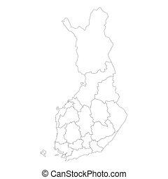 mapa, okolice, -, finlandia