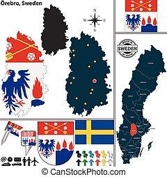 mapa, orebro, szwecja