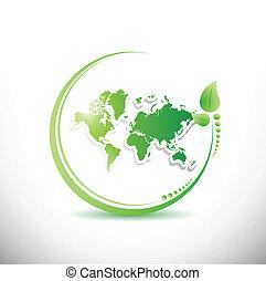 mapa, organiczny, wnętrze, ilustracja, leave., świat
