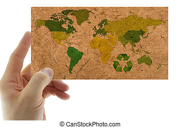 mapa, papier, przerobione surowce wtórne, świat, ręka
