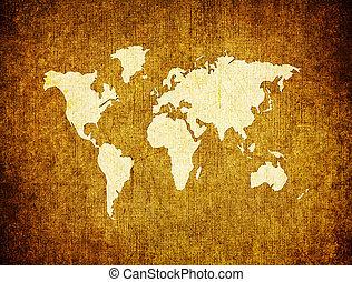 mapa, papier, stary, retro, świat