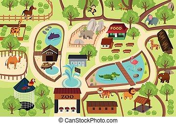 mapa, park, ogród zoologiczny