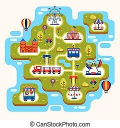 mapa, park, rozrywka, atrakcje