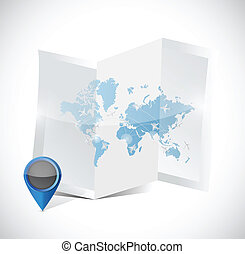mapa, podróż, ilustracja, przygotowania, projektować, świat