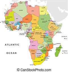 mapa, polityczny, afryka