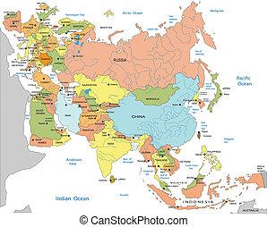 mapa, polityczny, eurasia