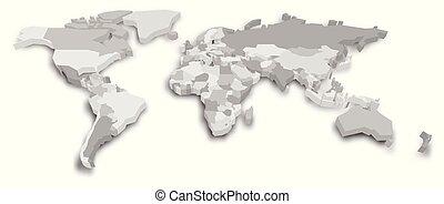 mapa, polityczny, ilustracja, wektor, world., 3d