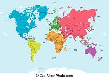 mapa, polityczny, kontynenty, świat