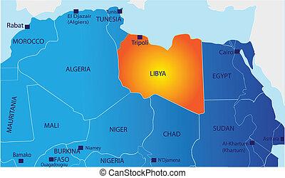mapa, polityczny, libia