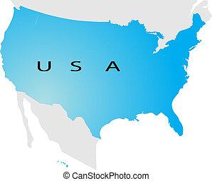 mapa, polityczny, usa
