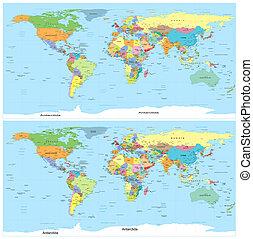 mapa, polityczny, vector., world.