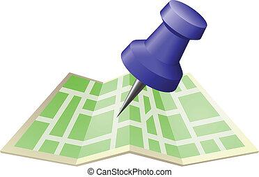 mapa przypinają, ilustracja, ulica, przeć, rysunek