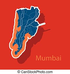 mapa, rzeźnik, mumbai.