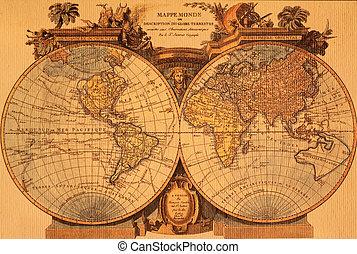 mapa, starożytny, świat