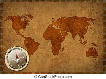 mapa, starożytny, grunge, -, tło, świat