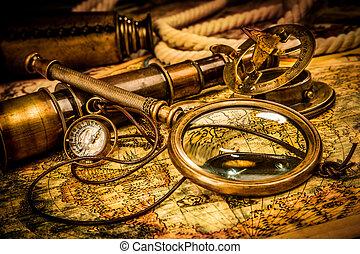 mapa, starożytny, kłamstwa, rocznik wina, szkło, świat, powiększający