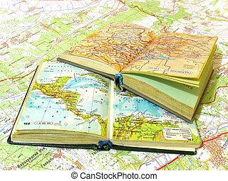 mapa, stary, otworzony, dwa, rozpostarty, atlas, książka