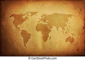 mapa, stary, papier, grunge, świat