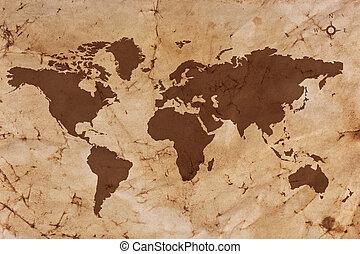 mapa, stary, plamiony, papier, plisowany, świat, pergamin