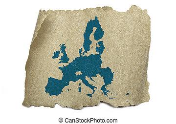 mapa, stary, zjednoczenie, struktura, papier, europejczyk
