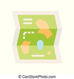 mapa, styl, płaski, park, powinowaty, wektor, ikona, rozrywka
