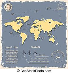 mapa, styl, rocznik wina, samoloty, świat, projektować