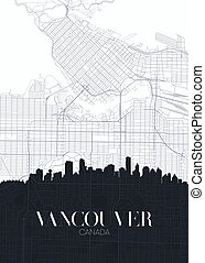 mapa, szczegółowy, miejski, plan, afisz, miasto, wektor, vancouver, druk, sylwetka na tle nieba