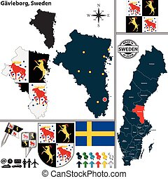 mapa, szwecja, gavleborg