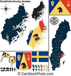 mapa, szwecja, sztokholm, hrabstwo
