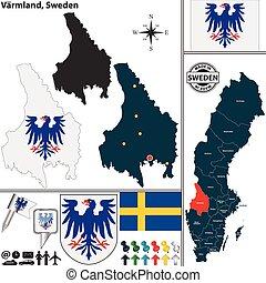 mapa, szwecja, varmland