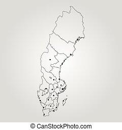 mapa, szwecja